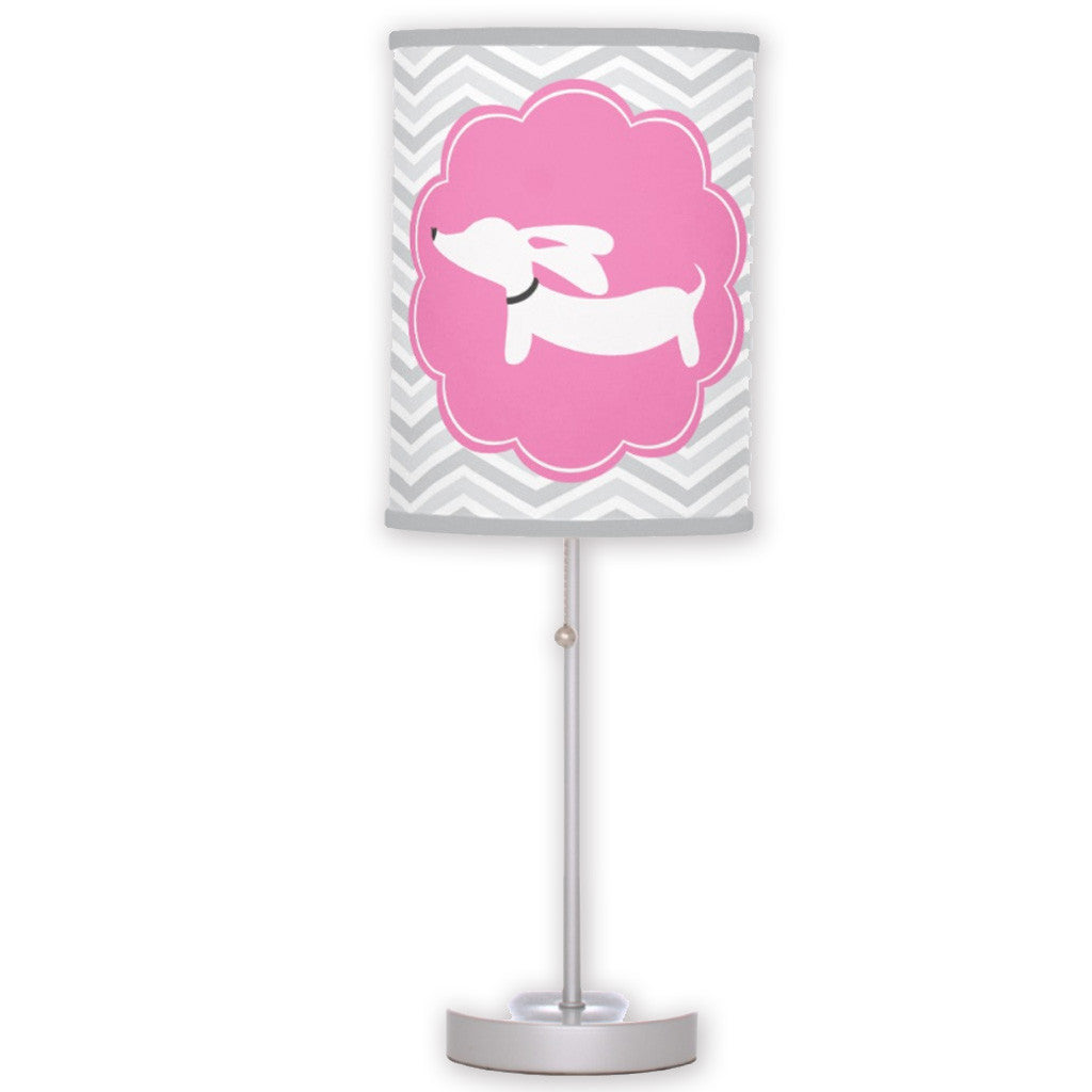 Pink and White Wiener Dog Table Light, The Smoothe Store