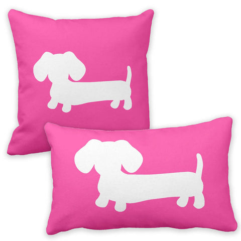 Pink & White Dachshund Pillow