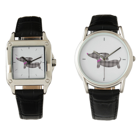 Gray Plaid Wiener Dog Leather Band Watches