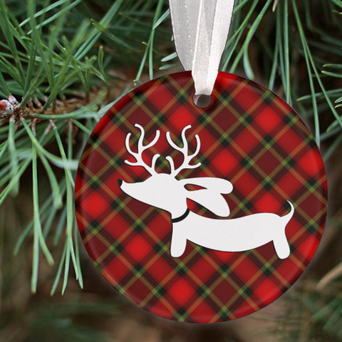 Plaid Reindeer Dachshund Christmas Tree Ornament, The Smoothe Store