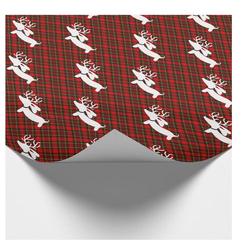 Reindeer Dachshund Red Plaid Christmas Wrapping Paper
