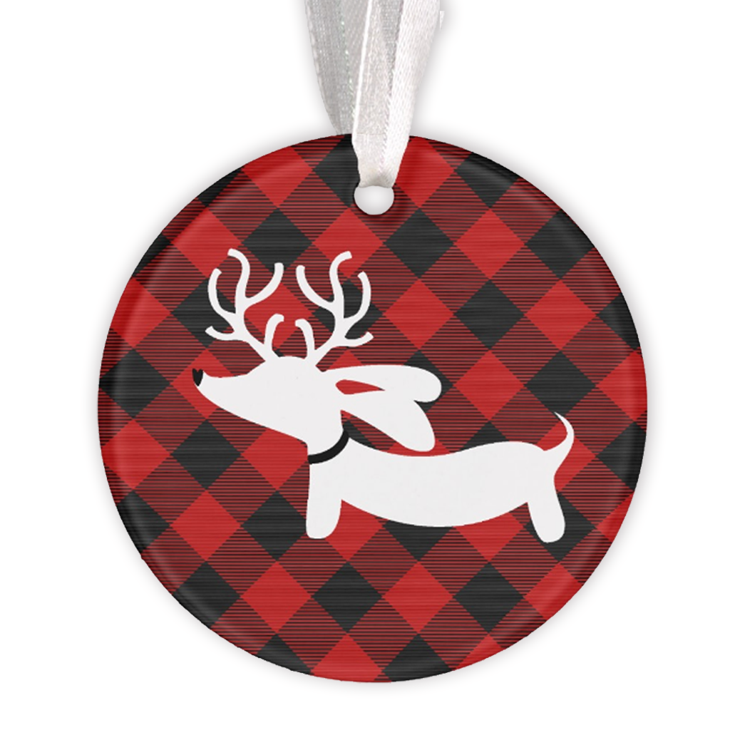 Buffalo Plaid Dachshund Christmas Tree Ornament - The Smoothe Store - 1