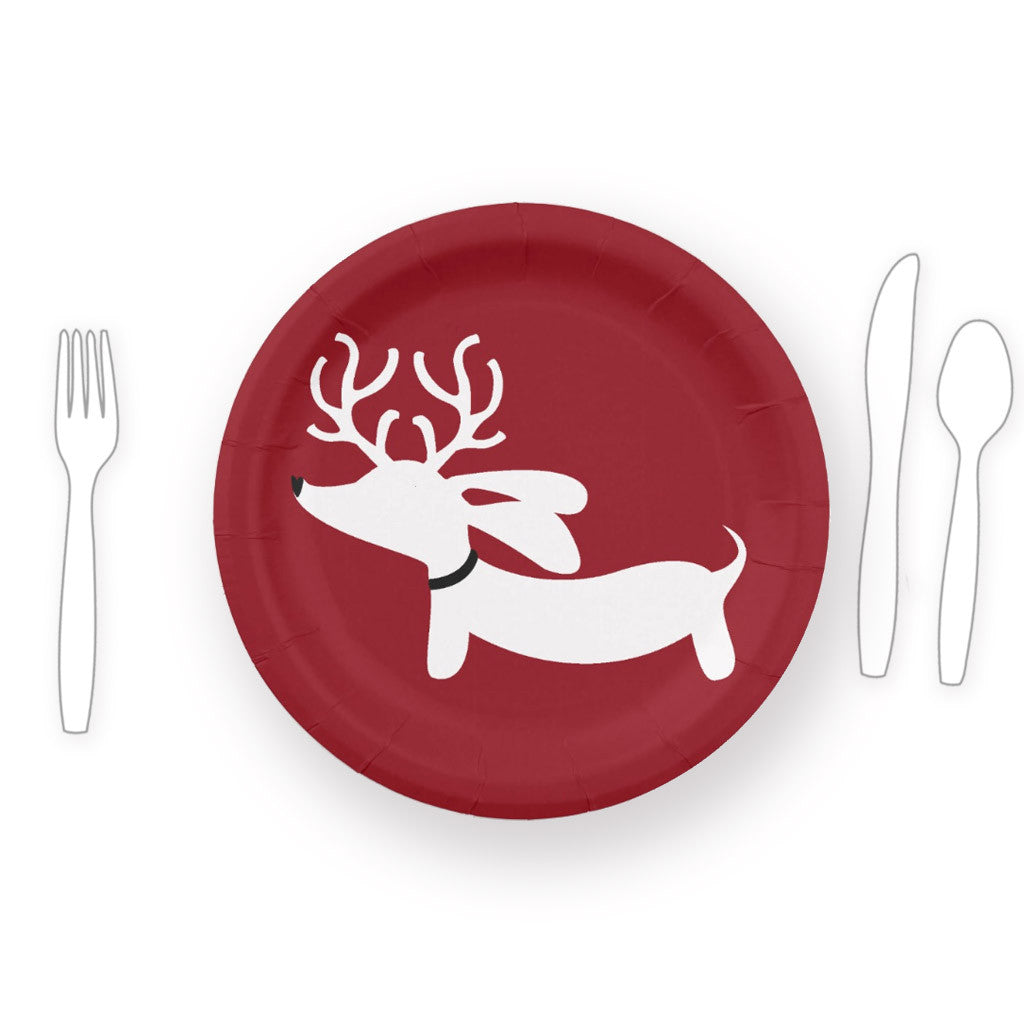 Reindeer Dachshund Christmas Paper Plates, The Smoothe Store