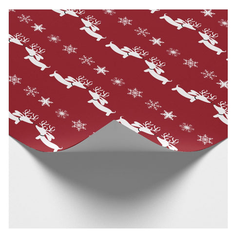 Reindeer Doxie on Cranberry Red Wrapping Paper - The Smoothe Store - 1