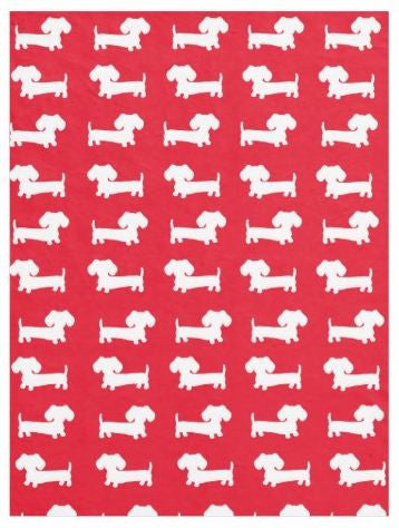 Dachshund Fleece Blanket |  Navy or Beige or Red