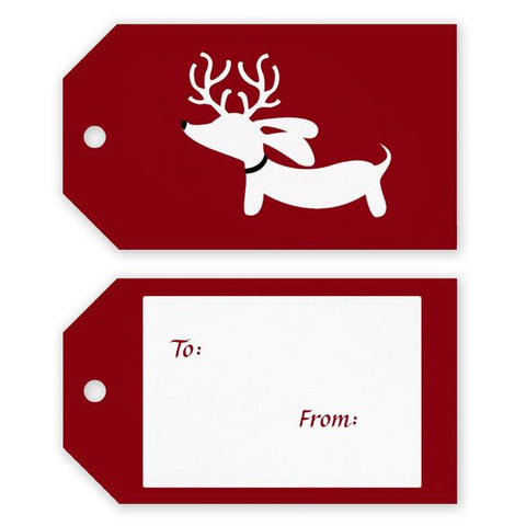 Reindeer Doxie Christmas Gift Tags