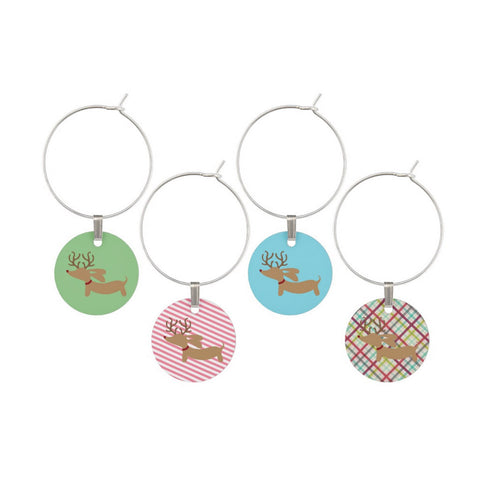 Reindeer Dachshund Christmas Wine Glass Charms
