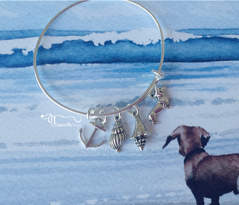 Sandy Paws Dachshund Bangle Charm Bracelet, The Smoothe Store