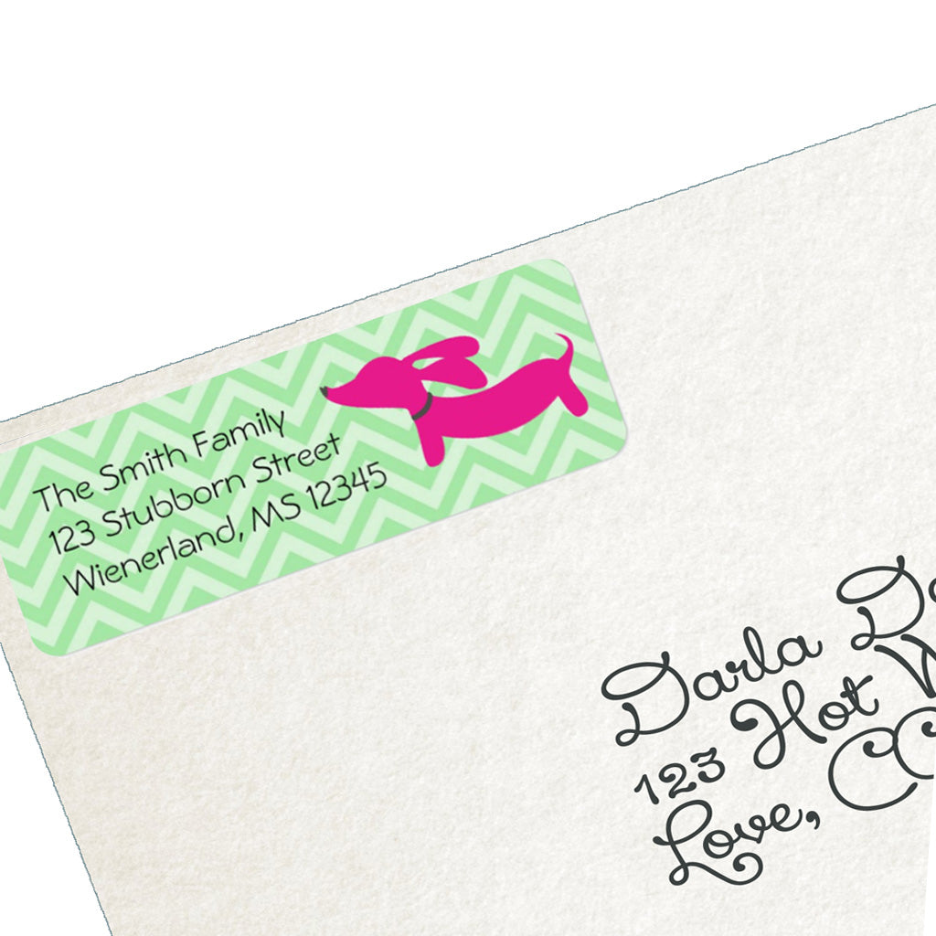 Pink Dachshund Return Address Labels, The Smoothe Store