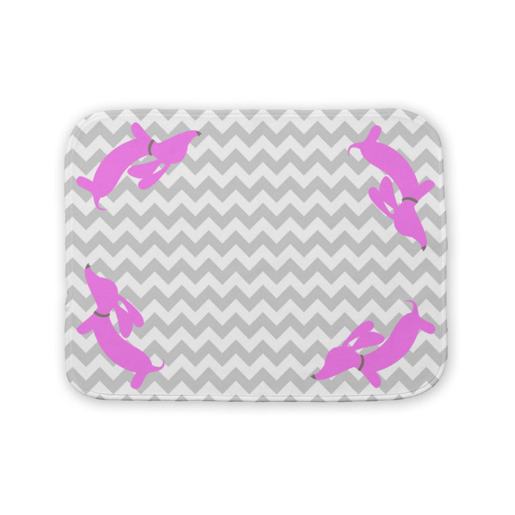 Yellow & Pink Sausage Dog Baby Burp Cloth, The Smoothe Store