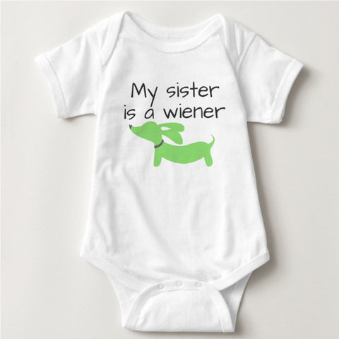 My Sister is a Wiener | Dachshund One Piece Baby Bodysuit - The Smoothe Store
