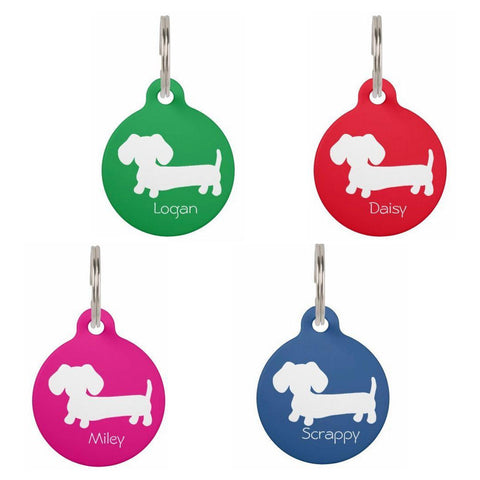 ID Tags | White Puppy Doxie on Various Colors