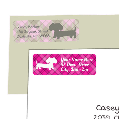 Pink Plaid Wiener Dog Return Address Labels