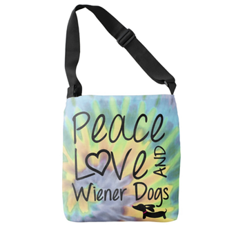 Peace Love & Wiener Dogs Tie Dye Tote Bag, The Smoothe Store
