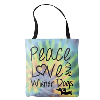 Peace Love & Wiener Dogs Tie Dye Tote Bag - The Smoothe Store