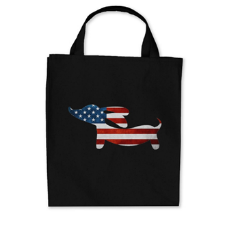 Dachshund Black Grocery Tote Bags
