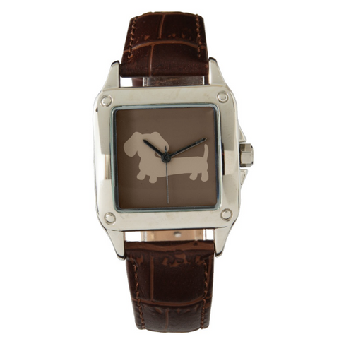 Ladies Dachshund Brown Leather Band Watch