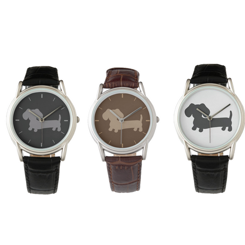 Black, Brown or Gray Dachshund Leather Watches