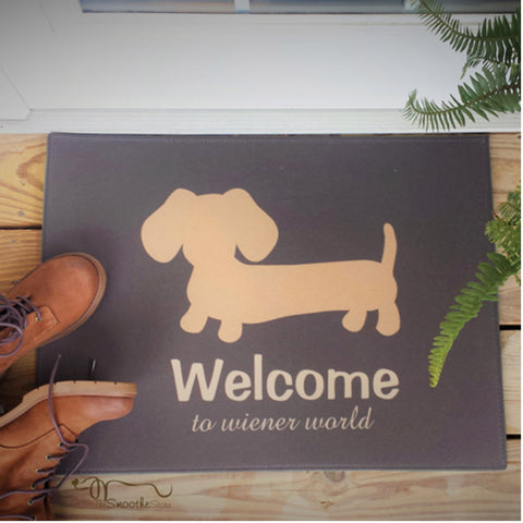 "Wiener Dog ""Welcome to Wiener World"" Doormat (Gray or Tan)"