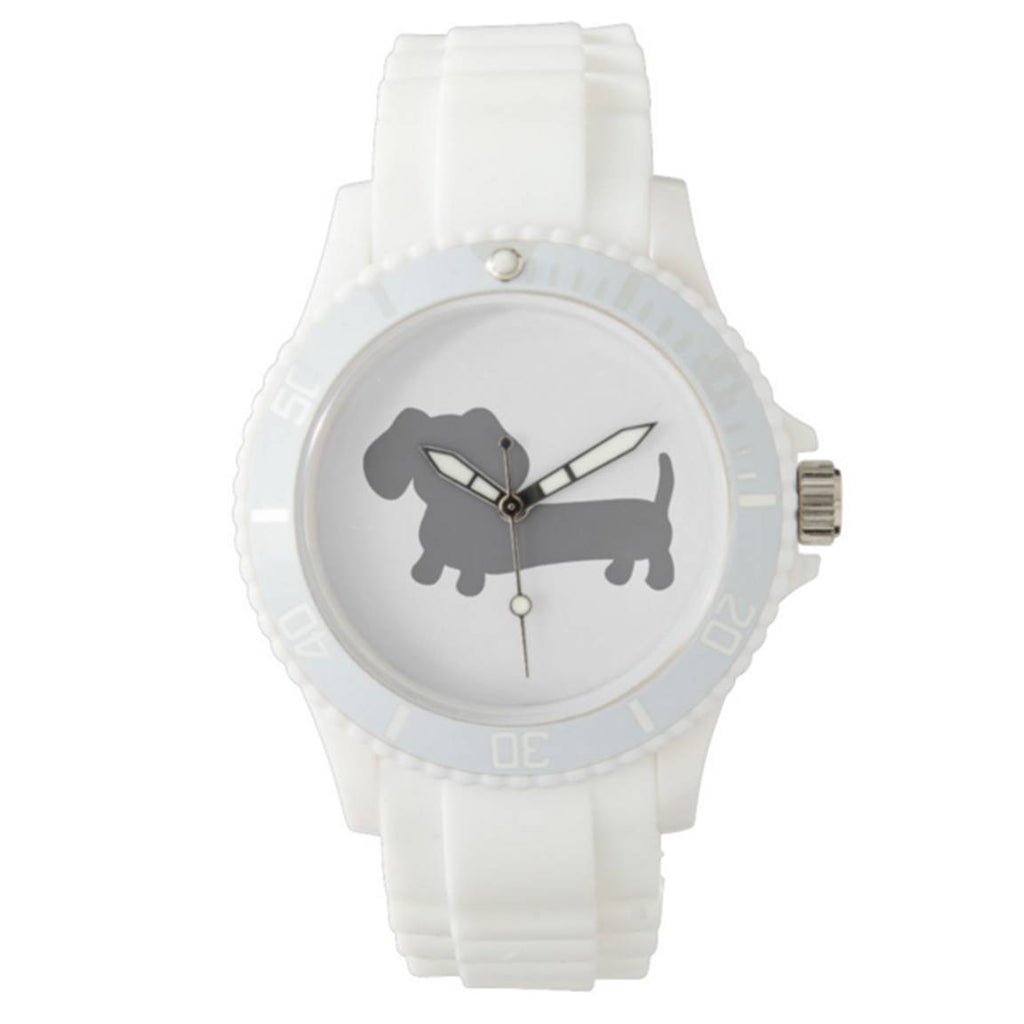 Sporty White Dachshund Silicone Band Watch - The Smoothe Store
