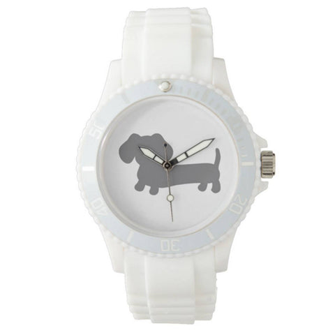 Sporty White Dachshund Silicone Band Watch