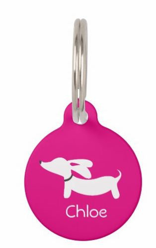ID Tags | White Flyings Ears Doxie on Various Colors - The Smoothe Store