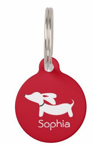 ID Tags | White Flyings Ears Doxie on Various Colors, The Smoothe Store