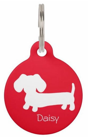 ID Tags | White Puppy Doxie on Various Colors - The Smoothe Store