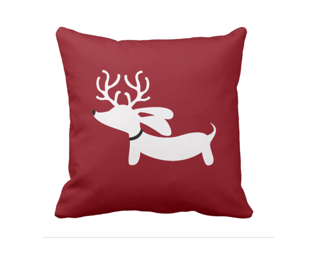 Reindeer Dachshund Holiday Accent Pillow, The Smoothe Store