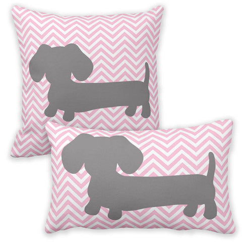 Pink & Gray Chevron Dachshund Pillow