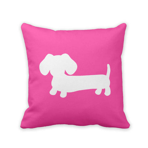 Pink & White Dachshund Pillow, The Smoothe Store
