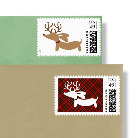 Reindeer Dachshund Holiday Postage Stamps