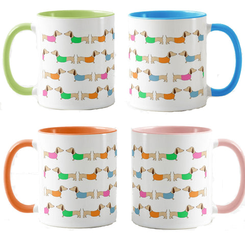 Colorful Dachshund Coffee Cups
