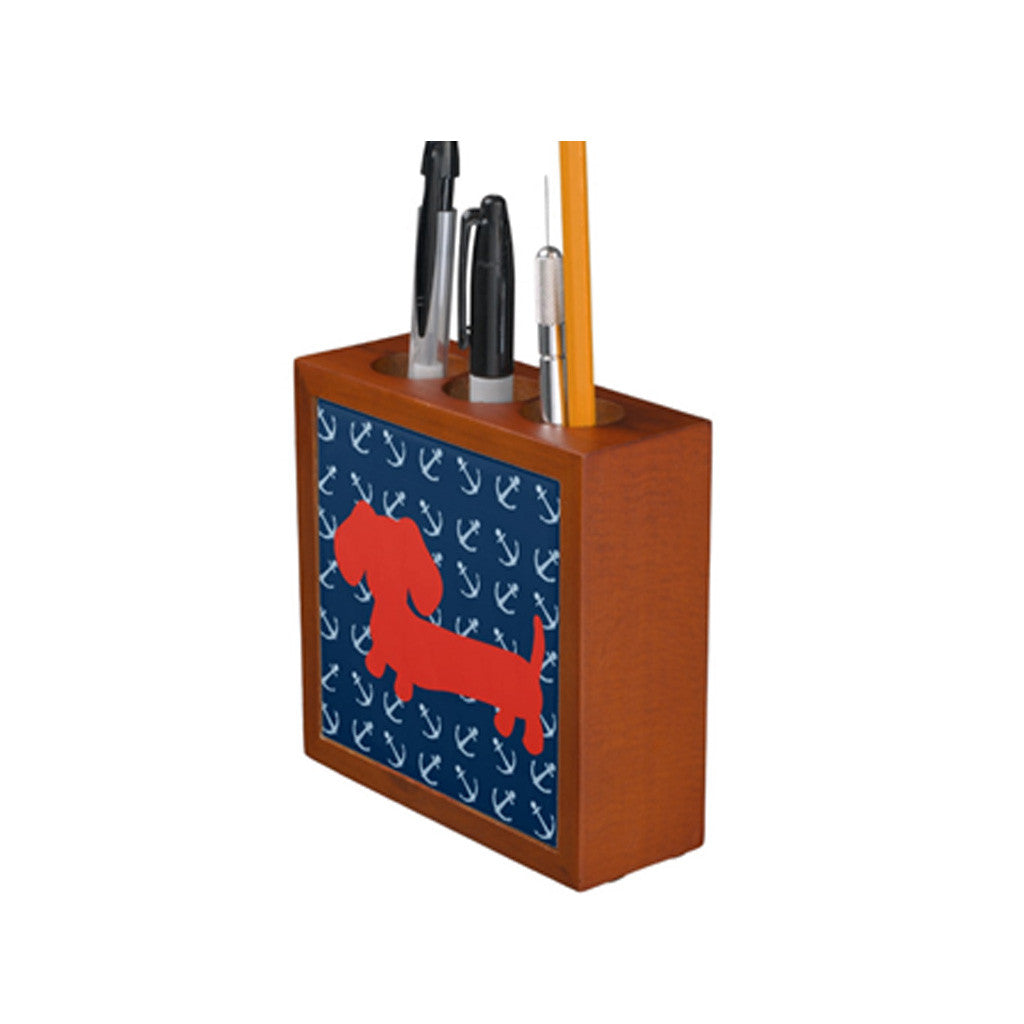 Nautical Dachshund Desk Pen Holder