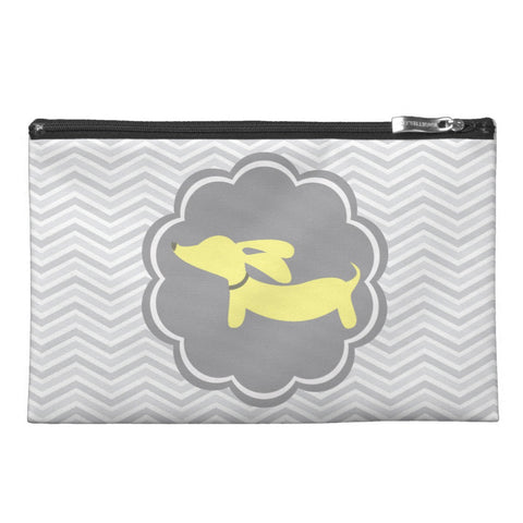 Yellow and Gray Dachshund Diaper Clutch