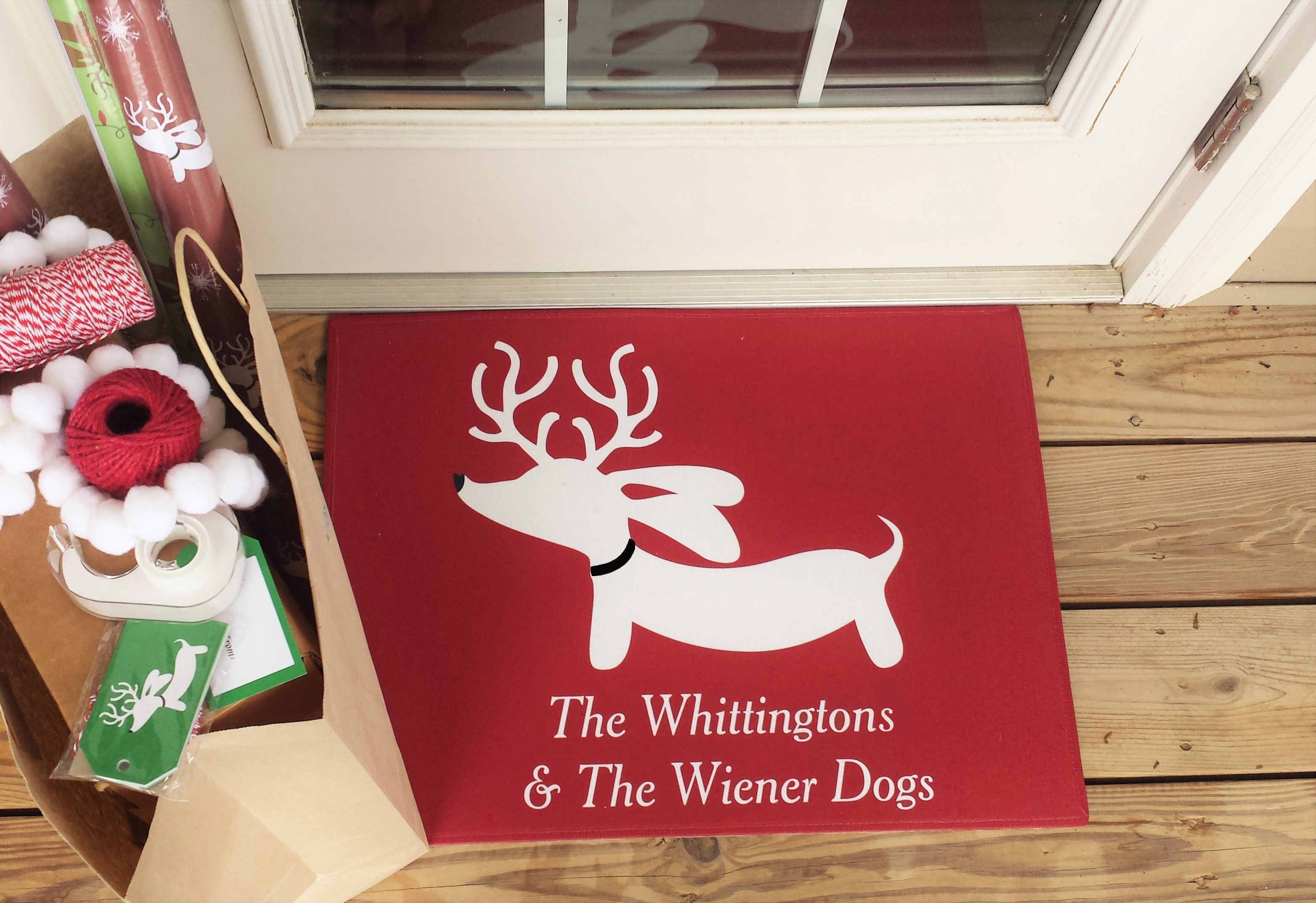 Personalized Reindeer Dachshund Christmas Doormat, The Smoothe Store