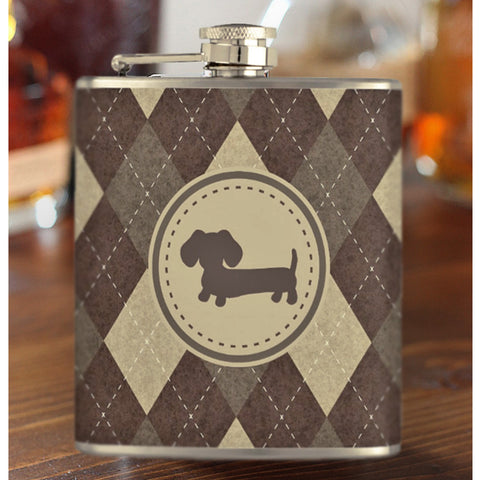 Chocolate Brown Argyle Dachshund Flask - The Smoothe Store - 2