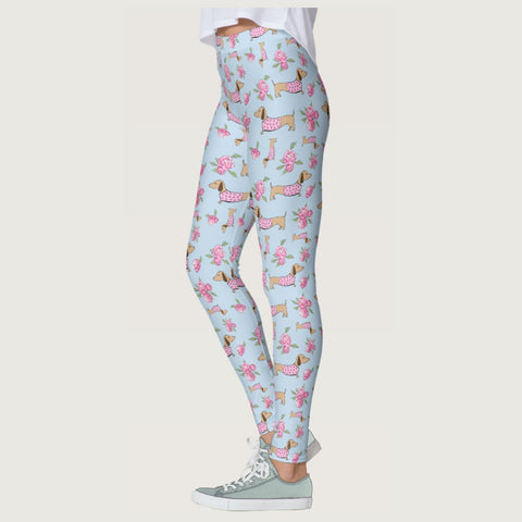Wiener Dog Floral Leggings, The Smoothe Store