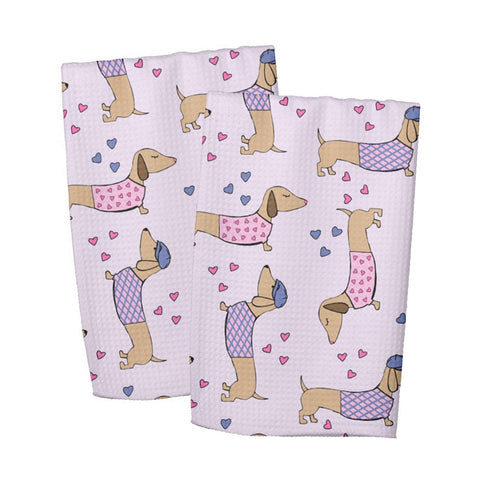 Wiener Dog Love Dish Towel