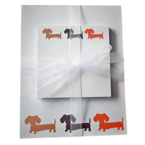 Earthy Toned Multi-colored Dachshund Note Pad Gift Set, The Smoothe Store
