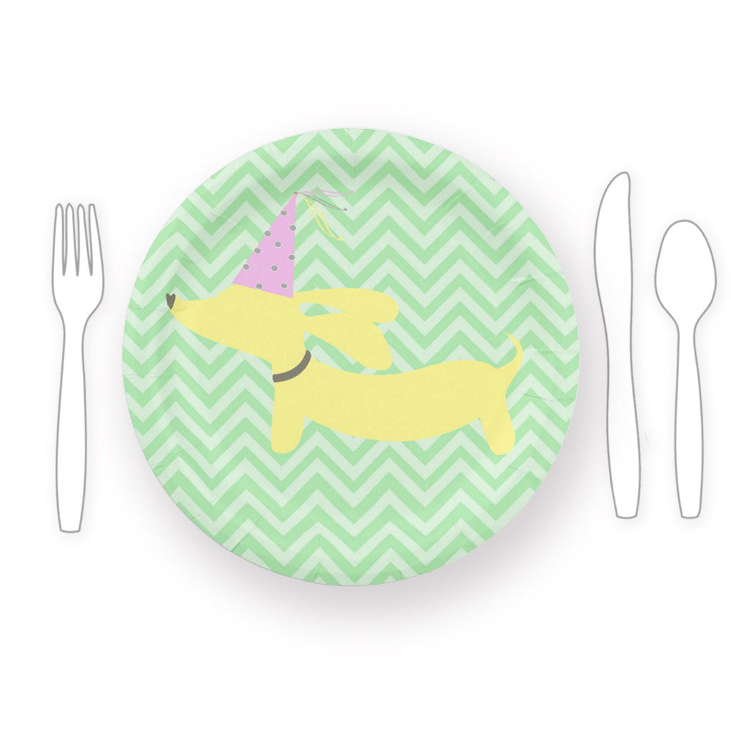 Dachshund Themed Paper Plates - Pink or Yellow, The Smoothe Store
