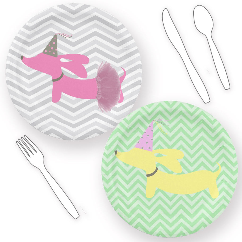Dachshund Themed Paper Plates - Pink or Yellow The Smoothe Store  sc 1 st  The Smoothe Store & Dachshund Themed Paper Plates - Pink or Yellow u2013 The Smoothe Store