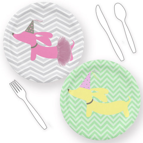 Wiener Party Dachshund Paper Plates - Pink or Yellow - The Smoothe Store