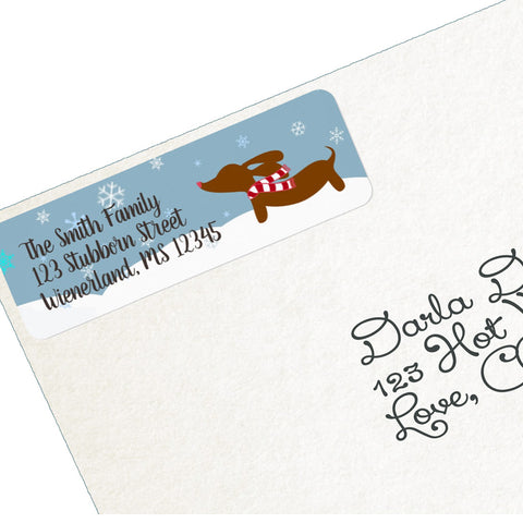 Wiener Wonderland Dachshund Return Address Labels