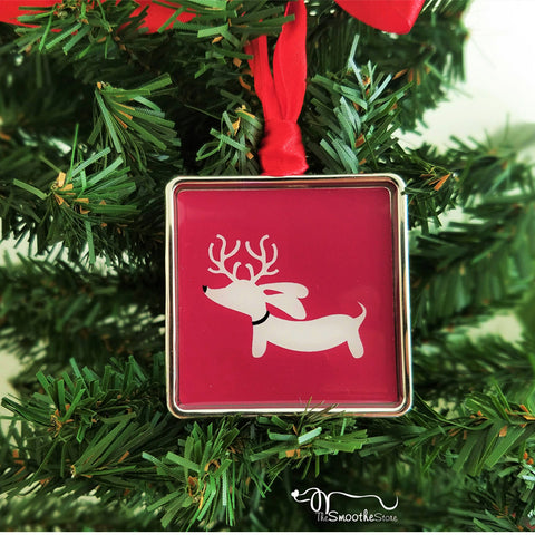 Reindeer Doxie Christmas Tree Ornaments, The Smoothe Store