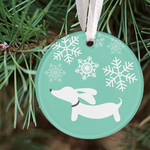 Dachshund & Snowflakes Christmas Tree Ornament, The Smoothe Store