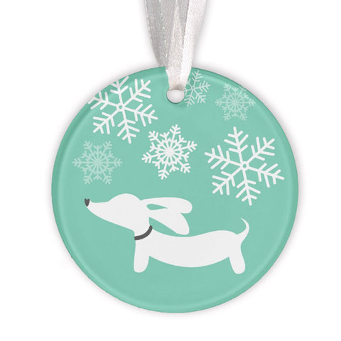Dachshund & Snowflakes Christmas Tree Ornament