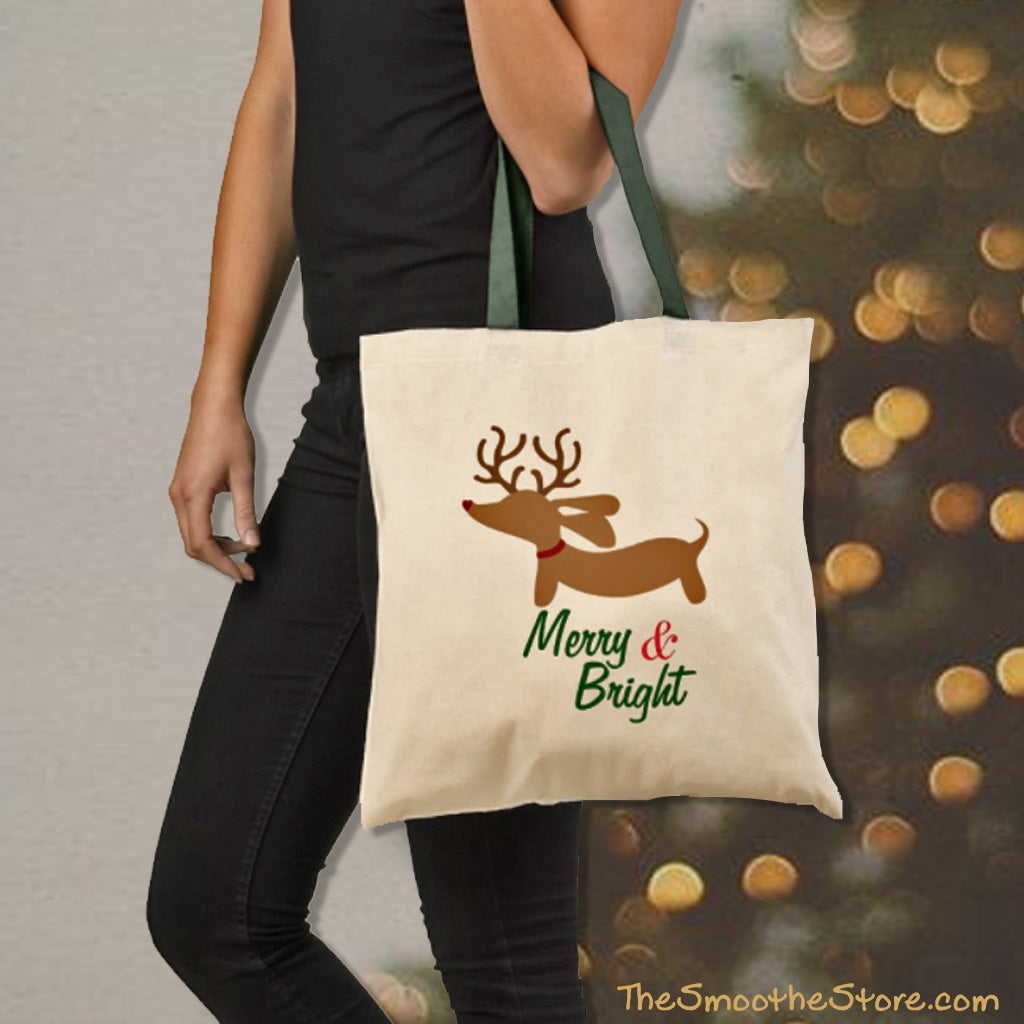 Merry & Bright Dachshund Christmas Tote Bag, The Smoothe Store