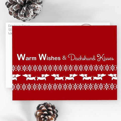 Warm Wishes & Wiener Dog Kisses Christmas Cards