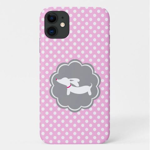 Pink Polka Dot Dachshund Mobile Phone Case | iPhone or Samsung Galaxy